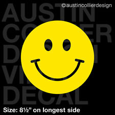 "8.5"" SMILEY FACE vinyl decal car truck window laptop sticker - happy new"