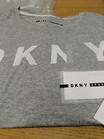 DKNY Grey T Shirt Rubber Logo. Ladies Size X's. Ref HV 16