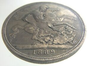 1889 Great Britain Crown KM# 765 Silver Circulated Coin Victoria S040