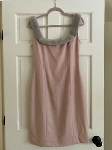 Vintage Blumarine Pink Dress With Fur Neckline Sizing: I46 D40 - Made In Italy