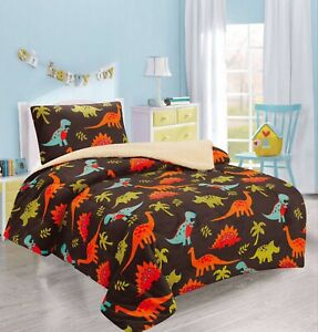 DINOSAURS BROWN BOYS FLANNEL BLANKET WITH SHERPA 2 PC TWIN THICK SOFT AND WARM