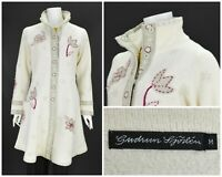 Womens Gudrun Sjoden Boiled Wool Unlined Coat Beige Button Embroidery Size M