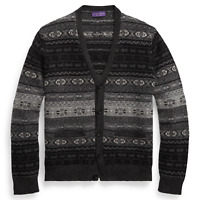 $1,695 Ralph Lauren Purple Label Mens Grey Fair Isle Cashmere Cardigan Sweater
