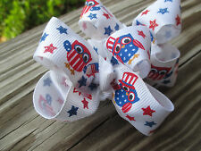"""Hair Bows a pair of Med 2"""" Red, White and Blue USA Owls Grossgrain Hair Bow"""