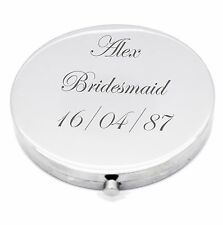 Personalised Silver Round Circle Shape Compact Mirror For Bridesmaid, Wedding UK