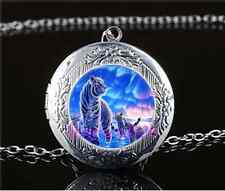 White Tiger Family Cabochon Glass Tibet Silver Locket Pendant Necklace