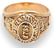 14Carat Yellow Gold 1738 Manning School Signet Ring (Size R) 14mm Widest