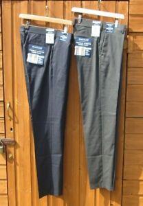 "Mens Haggar Trousers Slim Fit Premium Stretch 34"" & 32"" Waist Navy & Grey BNWTs"