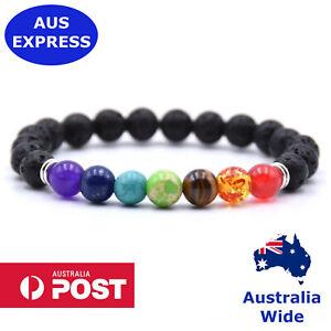 Chakra Bracelet 7 Bead Healing Lava Stone Natural Oil Diffuser Aromatherapy