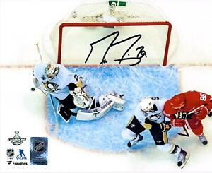 Marc-Andre Fleury Penguins Signed 8x10 2009 Finals G7 Series-Clinching Save Pic