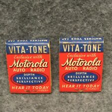2 Matchbooks Motorola Auto Radio Vita-Tone Vollmer Radio Sales Painesville Ohio