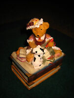 "VERY CUTE TEDDY BEAR SITTING ON A PILE OF BOOKS TRINKET BOX~APPROX. 4 1/2"" HIGH~"