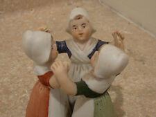 S38  antique porcelain bisque figurine three girls dutch china minature