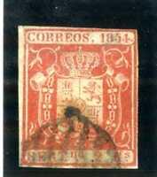 Sello de España 1854 Escudo de España nº 25 2 reales rojo matasellado Spain
