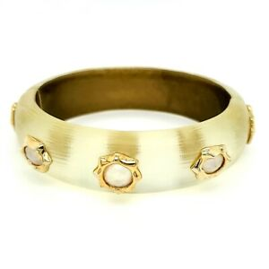Alexis Bittar Gold Tone Crystal Hinge Magnetic Bracelet Bangle