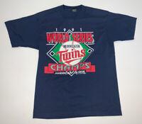Vintage 90s Minnesota Twins World Series Champions T-Shirt Size M/L MLB Baseball