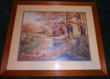 Vintage HOME INTERIORS Barn By Stream Fall Season Wood Frame Print Picture A+