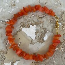 "Beads Gold Tone Clasp 8"" Long Handmade Bracelet Orange Cats Eye Glass Chip"