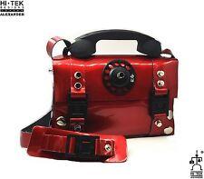 Hi Tek red leather telephone handle punk unisex satchel shoulder bag handbag