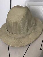 Men's Vintage Country Gentleman Beige Corduroy Fedora Hat SZ M