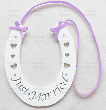 Just Married Wedding Handmade Wood Horseshoe Hanging with Lilac Decoration