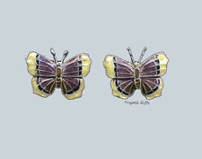 Bamboo Jewelry MOURNING CLOAK BUTTERFLY Cloisonne Post EARRINGS Sterling