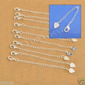 925 SILVER STAMPED NECKLACE CHAIN BRACELET EXTENDER EXTENSION LOBSTER LOVE CLASP