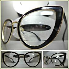 CLASSIC VINTAGE 60's RETRO CAT EYE Style Clear Lens EYE GLASSES Black Gold Frame
