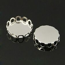 10 pcs Brass  Round Cabochon Settings Frame  Silver  Tray:12mm Jewellery Making