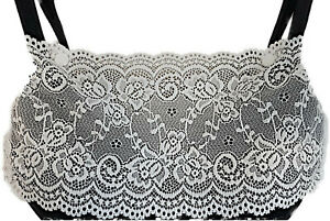 Modesty Panel Quality Stretch Lace Fabric White. Small Medium Large