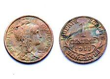 1 Centime 1911. Dupuis. France. Bronze. Superbe qualité