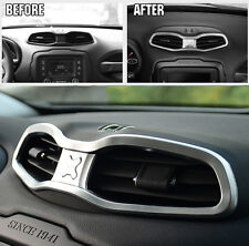 For Jeep Renegade 2015+ ABS Chrome Center Air Vent Outlet Cover Trim
