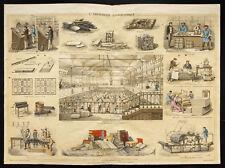 Rare 1853ca - L'imprimerie Typographique - Planche encyclopédique, scolaire