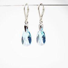 Damen Ohrringe 925 Sterling Silber Swarovski Kristalle 16 Mm Aquamarin blau