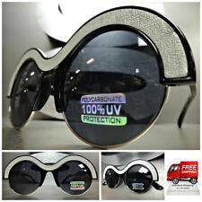 Men or Women VINTAGE RETRO Style SUN GLASSES Unique Black Silver Frame Dark Lens