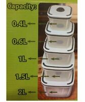10pc Set Airtight Food Storage Containers BPA Free Reusable Plastic Lunch Box