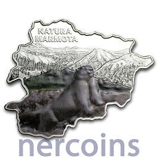 Andorra 2013 Nature Marmot Map Shaped 10 Dinar Pure Silver 1 Oz Colored Coin