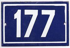 Old blue French house number 177 door gate plate plaque enamel metal sign steel