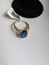 10KT YELLOW GOLD PEAR SHAPED LONDON BLUE RING 4.75 CARATS   NWT