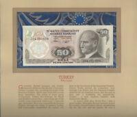Most Treasured Banknotes Turkey 50 Lirasi 1970 UNC P 188a.2 UNC Prefix J04
