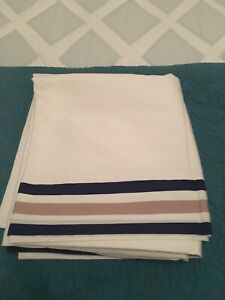 Serena & Lily Full Size Flat Sheet White with Blue/Tan Stripe Top Border