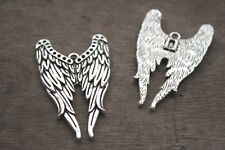 10pcs silver tone Supernatural Castiel Angel Wing Charm Pendants 40x22mm