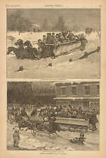A.B. Frost, Winter Amusements, Horse Drawn Sleigh Ride, Vintage 1881 Art Print