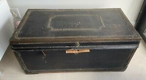 ANTIQUE EARLY 19 CENTURY TRAVEL TRUNK NEEDS TLC CAMPHOR WOOD AND LEATHER