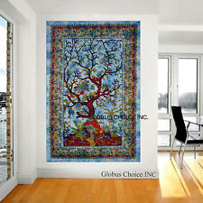 Blue Indian Mandala Life Of Tree Wall Hanging Throw Tapestry Decor Boh Bedspread
