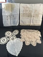 New listing Lot of 7 Vintage Hand Crocheted And Cotton Doilies - White to Off White