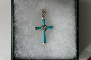 Beautiful 925 Silver Cross WithTurquoise And Marcasite 4.2 Grams 3.8x 2.1 Cm. W.