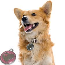 Mascota Perro Cachorro Collar de Identificación Etiquetas de nombre de patrón de corazón Llavero Collar Colgante de ancho