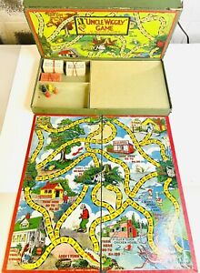 1937 Uncle Wiggily Board Game Box Wood Game Pieces Pink White Cards