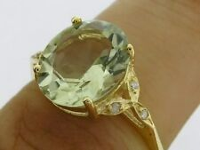 s R099 Solid 9K Gold Natural Oval Green Amethyst & Diamond Solitaire Ring size O